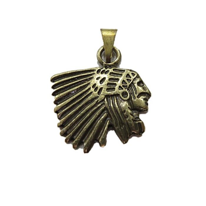 Pingente Índio ouro velho- PTO020