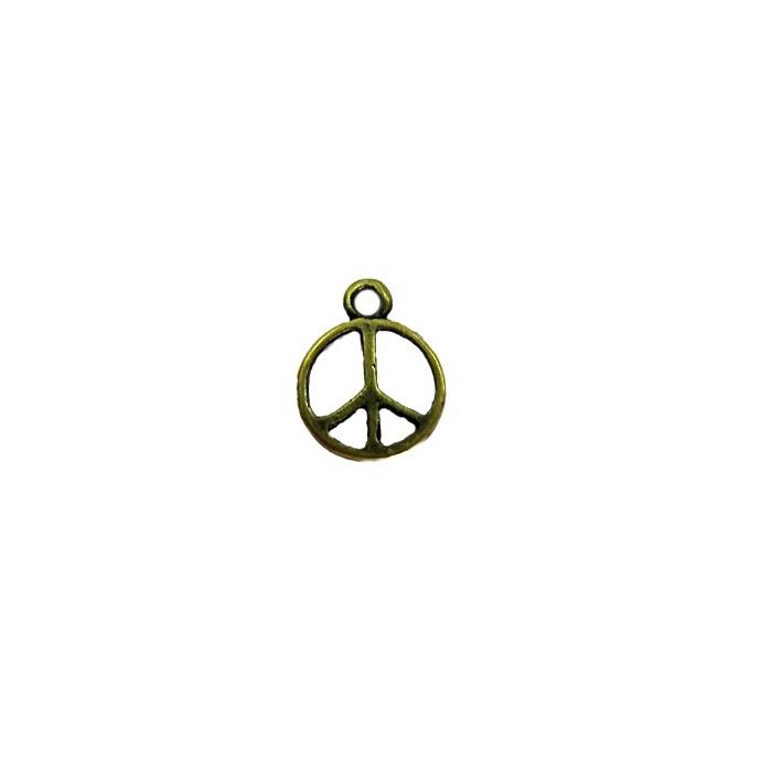 Pingente Paz e amor ouro velho pequeno (10 unidades)- PTO061