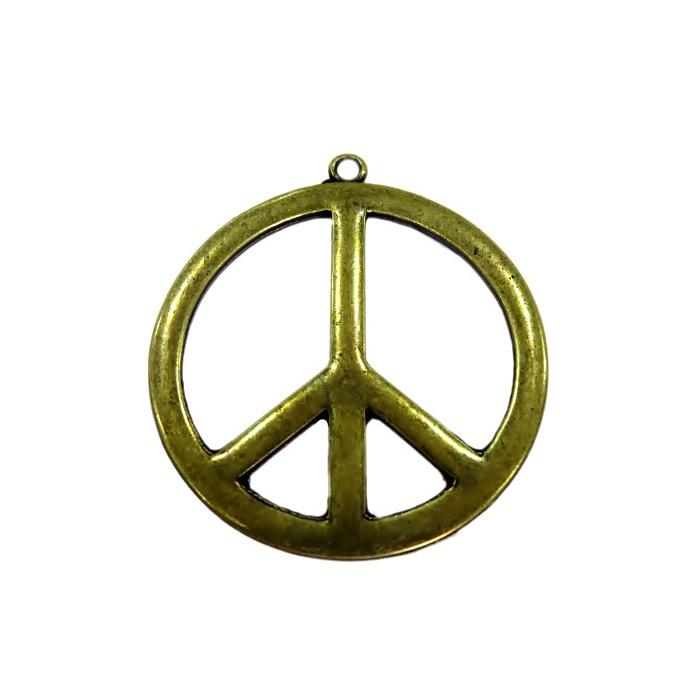 Pingente Paz e amor grande ouro velho- PTO063
