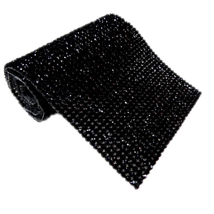 Manta de strass preta 1,20x 45cm - MS004 ATACADO