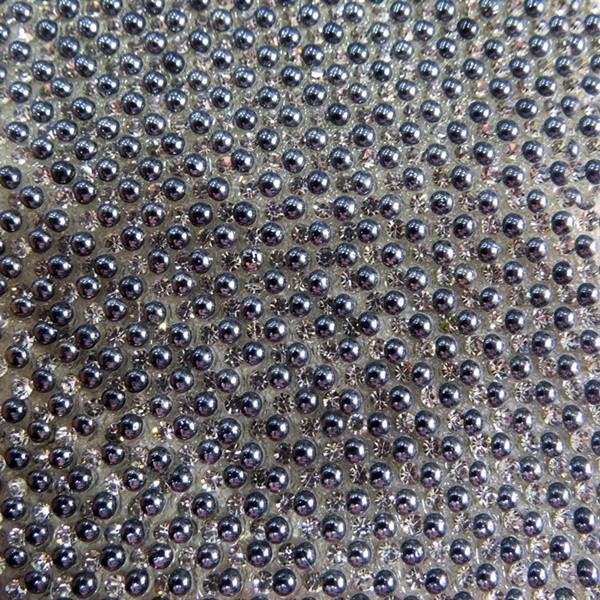 Manta de strass de bolinha hematita/ cristal 24x40cm- MS010 ATACADO