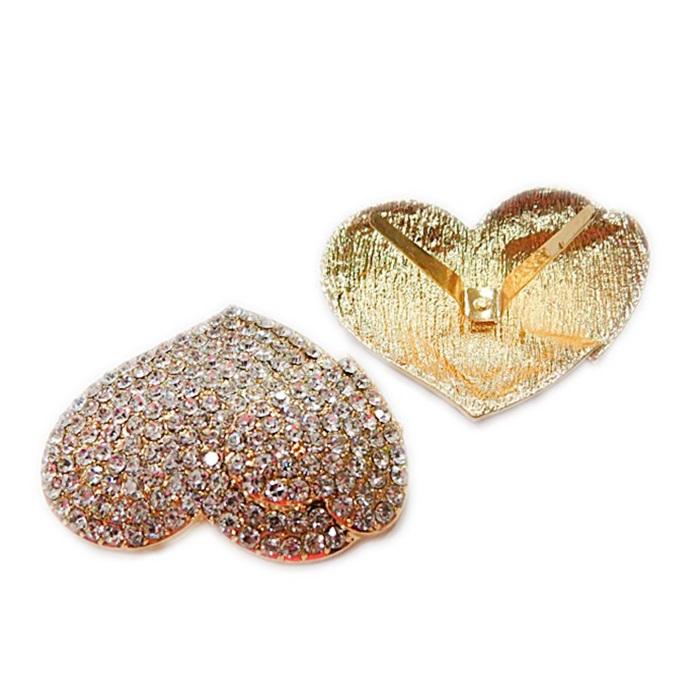 Entremeo de garra dourado 2 corações c/ strass- EG016