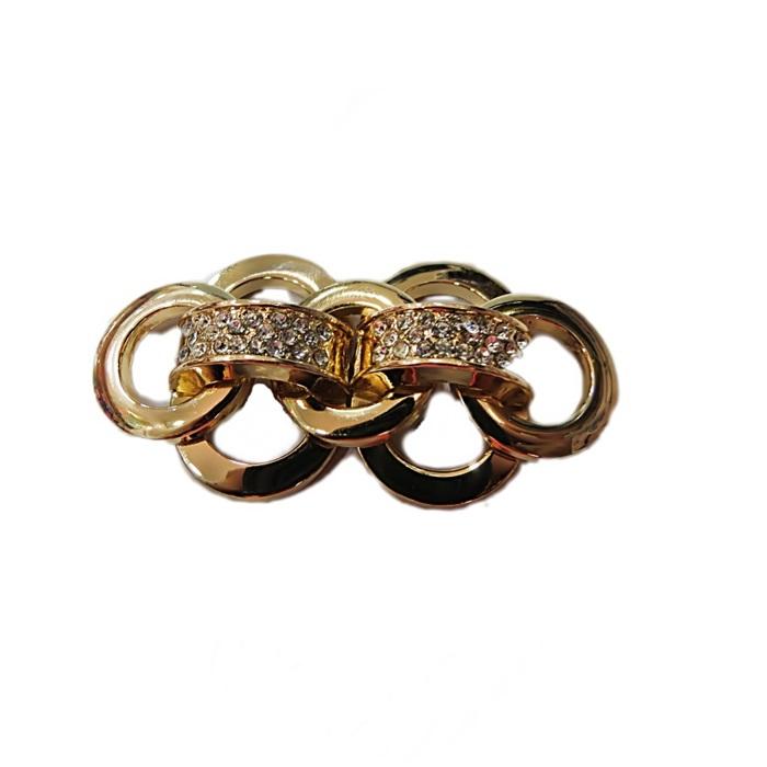 Entremeio dourado de costura argolas c/ strass- EC015