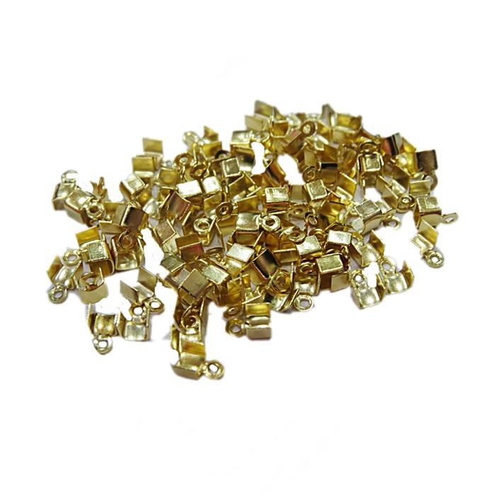 Terminal de amassar c/ saida dourado 4mm (100 unid.)- TAD004