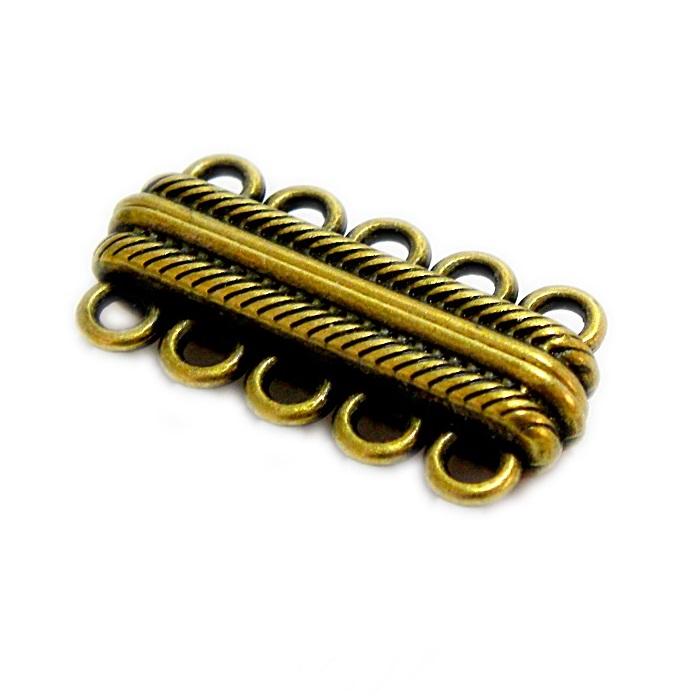 Fecho ima ouro velho c/ 5 saidas (01 unid.)- FIO011
