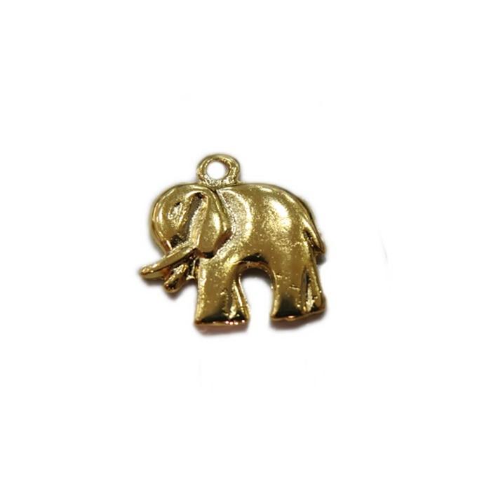 Pingente Elefante médio dourado- PTD026
