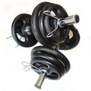 Kit Musculação 2 barras + 12 anilhas ( 24 kg )