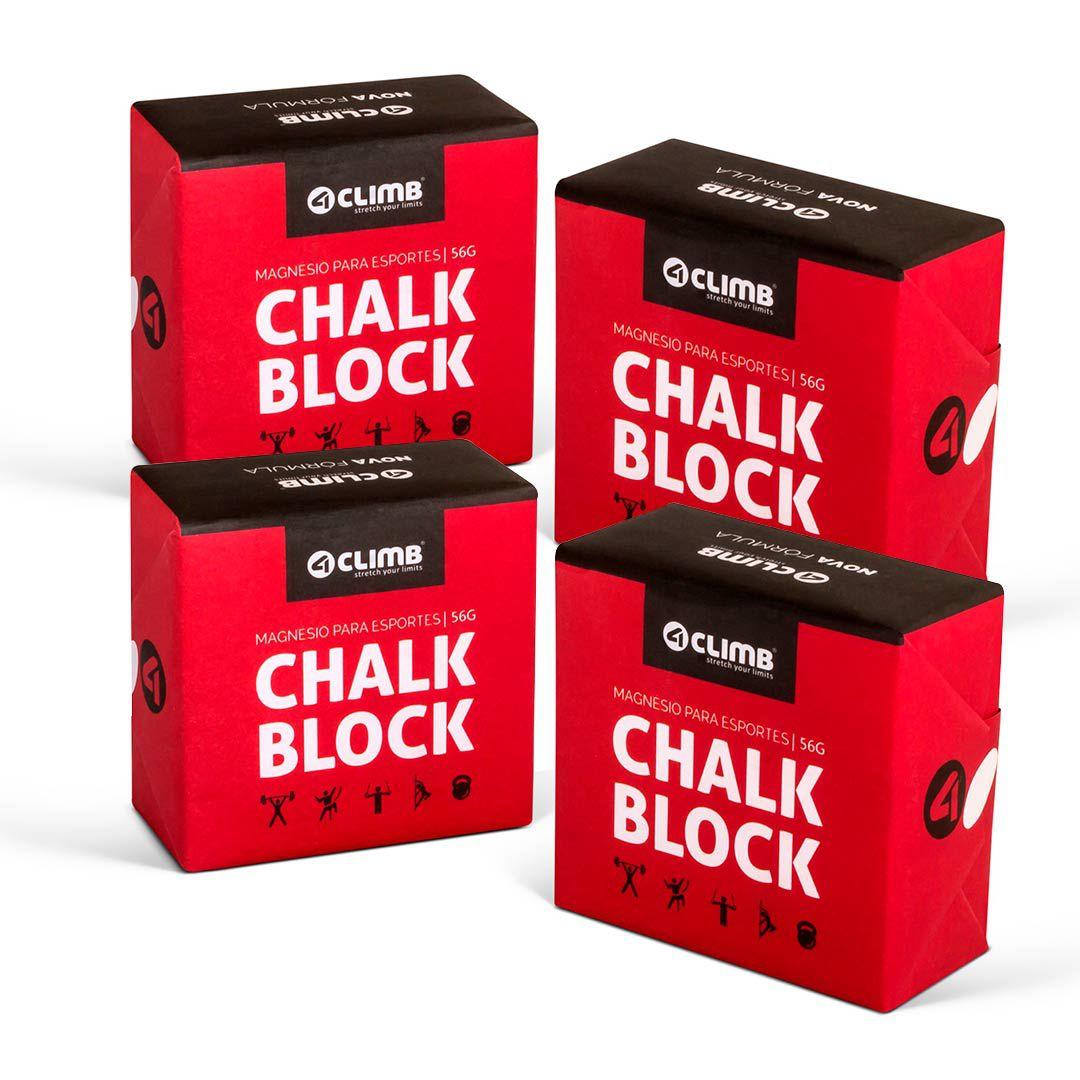 CARBONATO DE MAGNÉSIO CHALK BLOCK 56G 4CLIMB - 4 UNIDADES  - Iniciativa Fitness