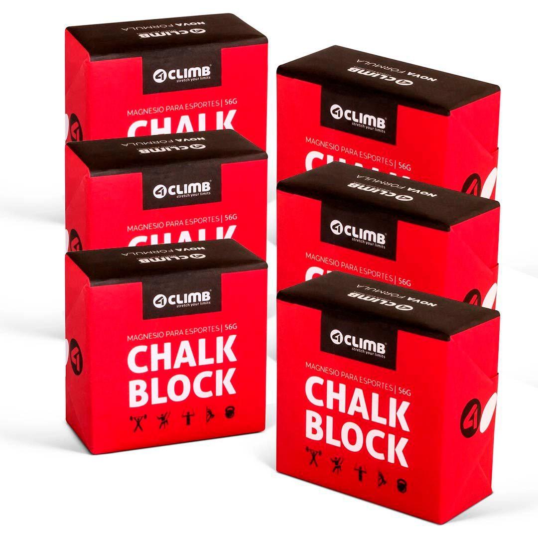 CARBONATO DE MAGNÉSIO CHALK BLOCK 56G 4CLIMB - 6 UNIDADES  - Iniciativa Fitness