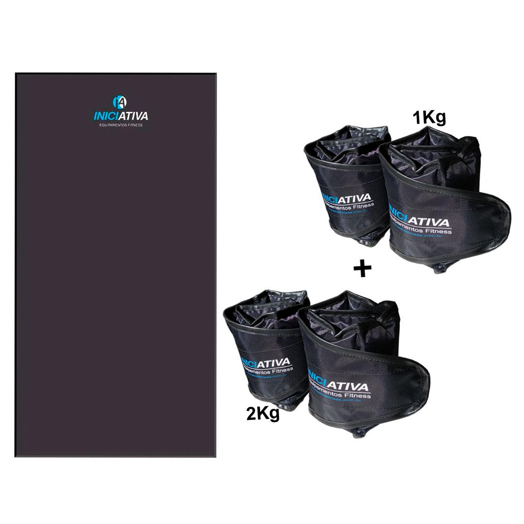 KIT 1 COLCHONETE PROFISSIONAL + 1 PAR DE CANELEIRA DE 1KG + 1 PAR DE CANELEIRA DE 2KG  - Iniciativa Fitness