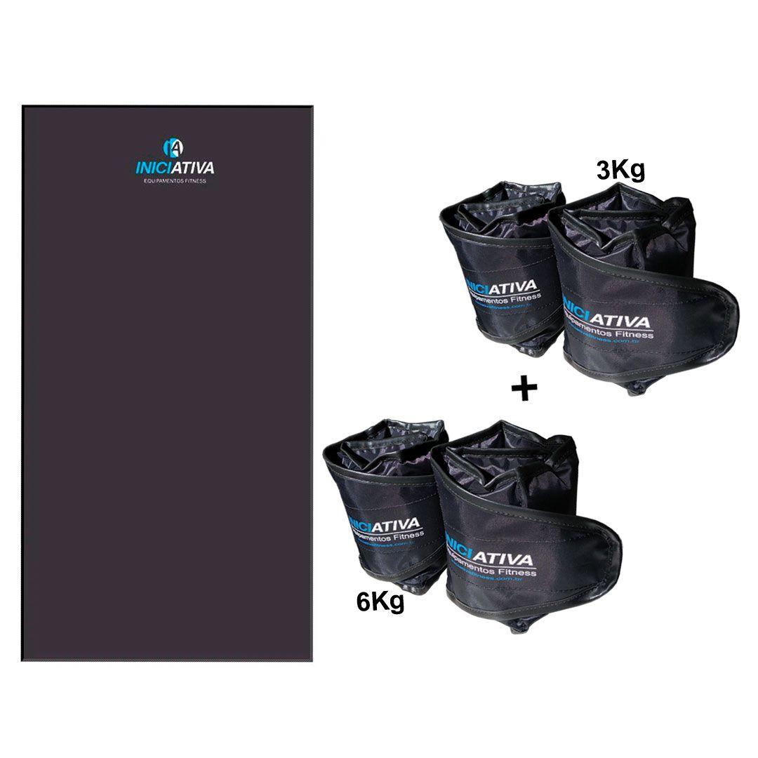 KIT 1 COLCHONETE PROFISSIONAL + 1 PAR DE TORNOZELEIRA 3KG + 1 PAR DE TORNOZELEIRA 6KG  - Iniciativa Fitness