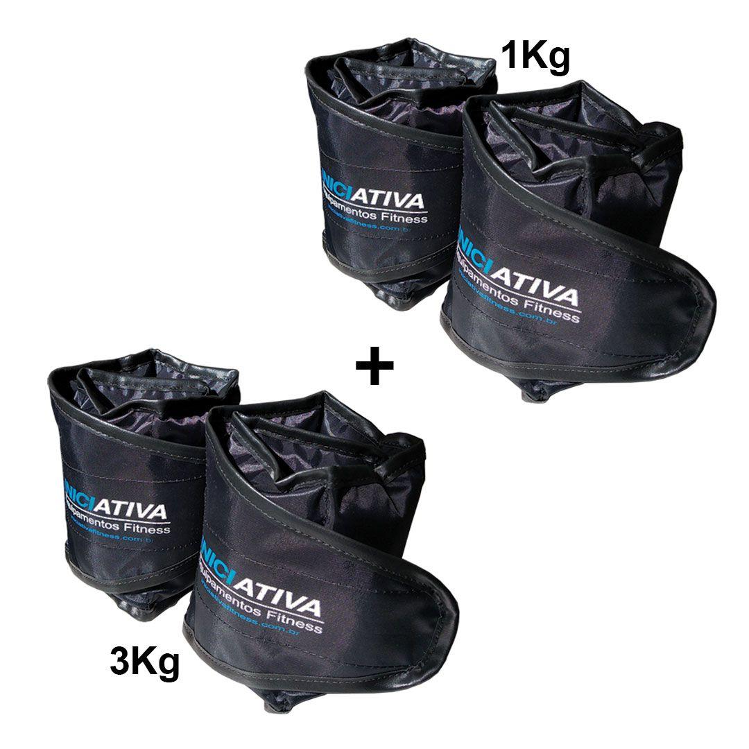 KIT 1 PAR DE TORNOZELEIRA 1KG + 1 PAR DE TORNOZELEIRA 3KG  - Iniciativa Fitness