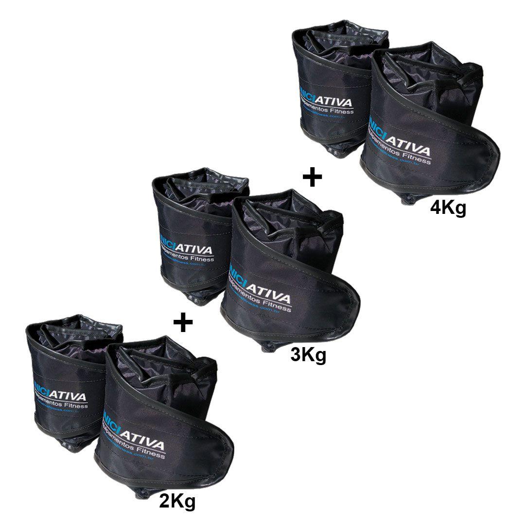 KIT 1 PAR DE CANELEIRA 2KG + 1 PAR DE CANELEIRA 3KG + 1 PAR DE CANELEIRA 4KG  - Iniciativa Fitness
