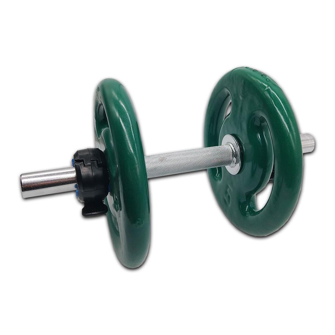 KIT 2 BARRAS MACIÇAS 40CM C/ LOCK JAW + 4 ANILHAS REVESTIDAS 5KG  - Iniciativa Fitness