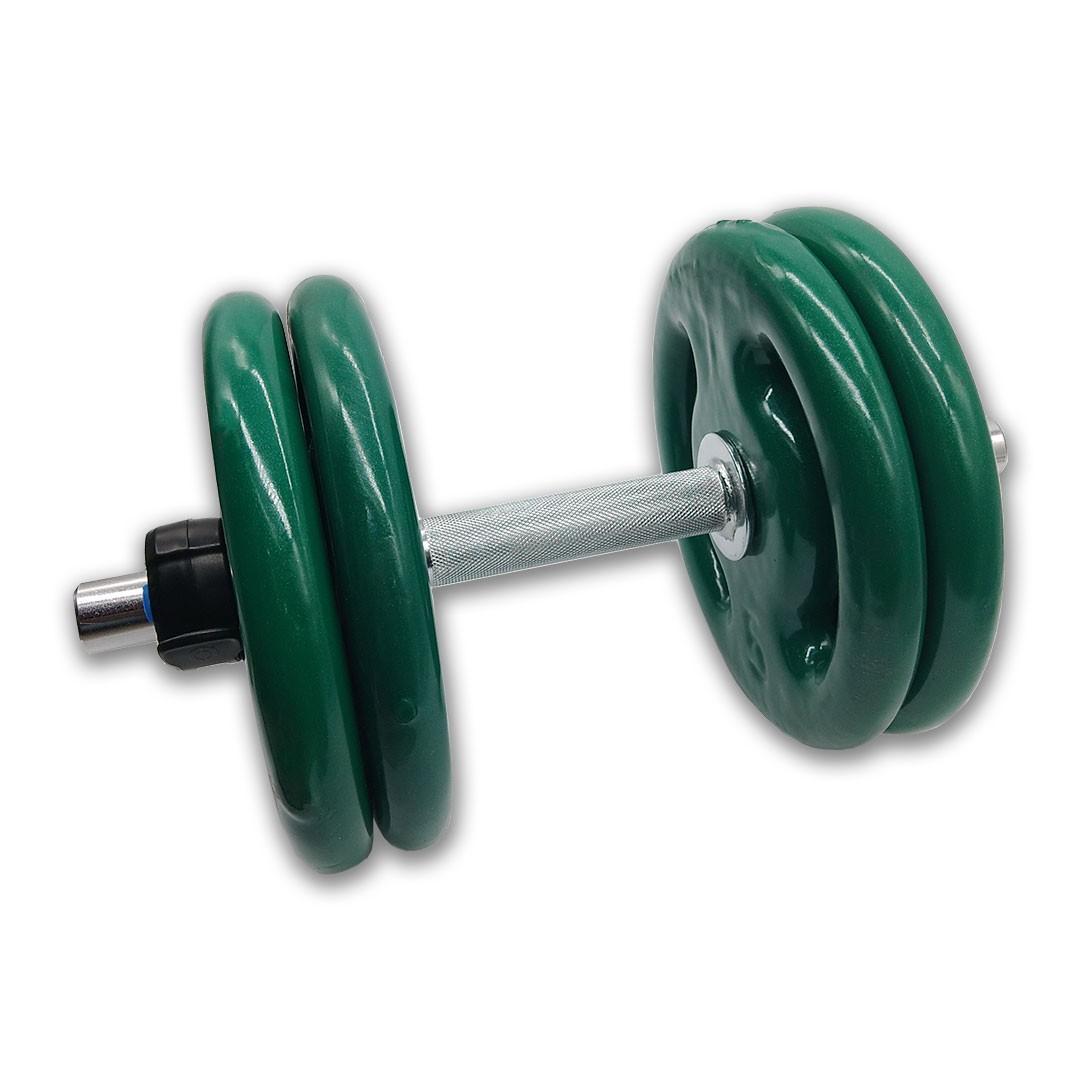 KIT 2 BARRAS MACIÇAS 40CM C/ LOCK JAW + 8 ANILHAS REVESTIDAS 5KG  - Iniciativa Fitness
