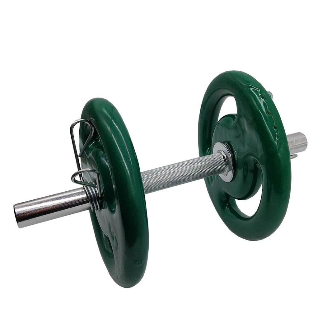 KIT 2 BARRAS MACIÇAS 40CM C/ PRESILHA ESPIRAL + 4 ANILHAS REVESTIDAS 5KG  - Iniciativa Fitness