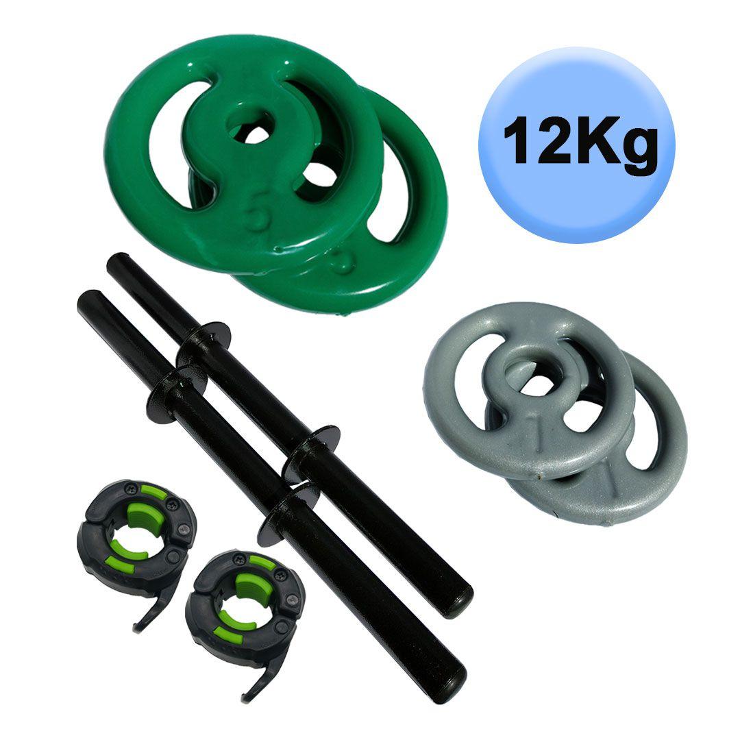 KIT 2 BARRAS OCAS 40CM C/ LOCK JAW + 2 PARES DE ANILHA REVESTIDA 1KG + 2 PARES DE ANILHA REVESTIDA 5KG  - Iniciativa Fitness