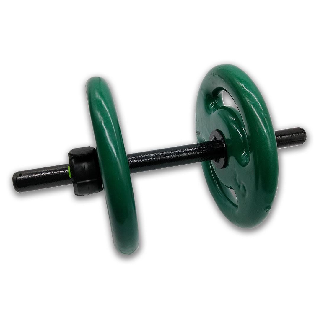 KIT 2 BARRAS OCAS 40CM C/ LOCK JAW + 4 ANILHAS REVESTIDAS 5KG  - Iniciativa Fitness