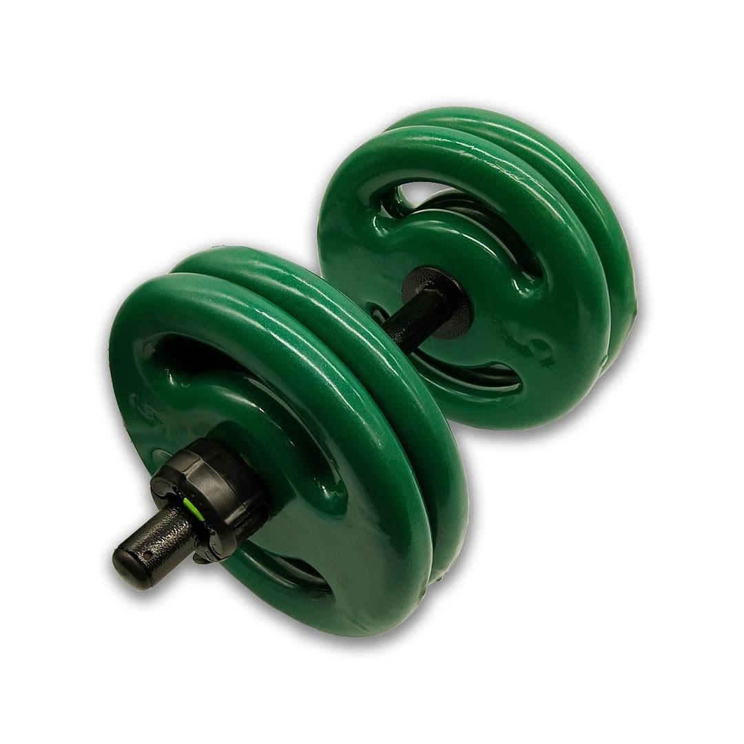 KIT 2 BARRAS OCAS 40CM C/ LOCK JAW + 8 ANILHAS REVESTIDAS 5KG  - Iniciativa Fitness