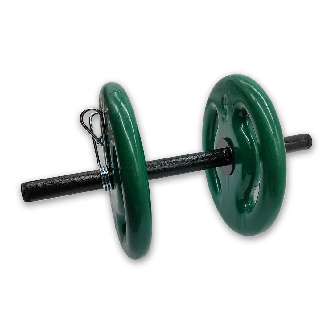 KIT 2 BARRAS OCAS 40CM C/ PRESILHA ESPIRAL + 4 ANILHAS REVESTIDAS 5KG  - Iniciativa Fitness
