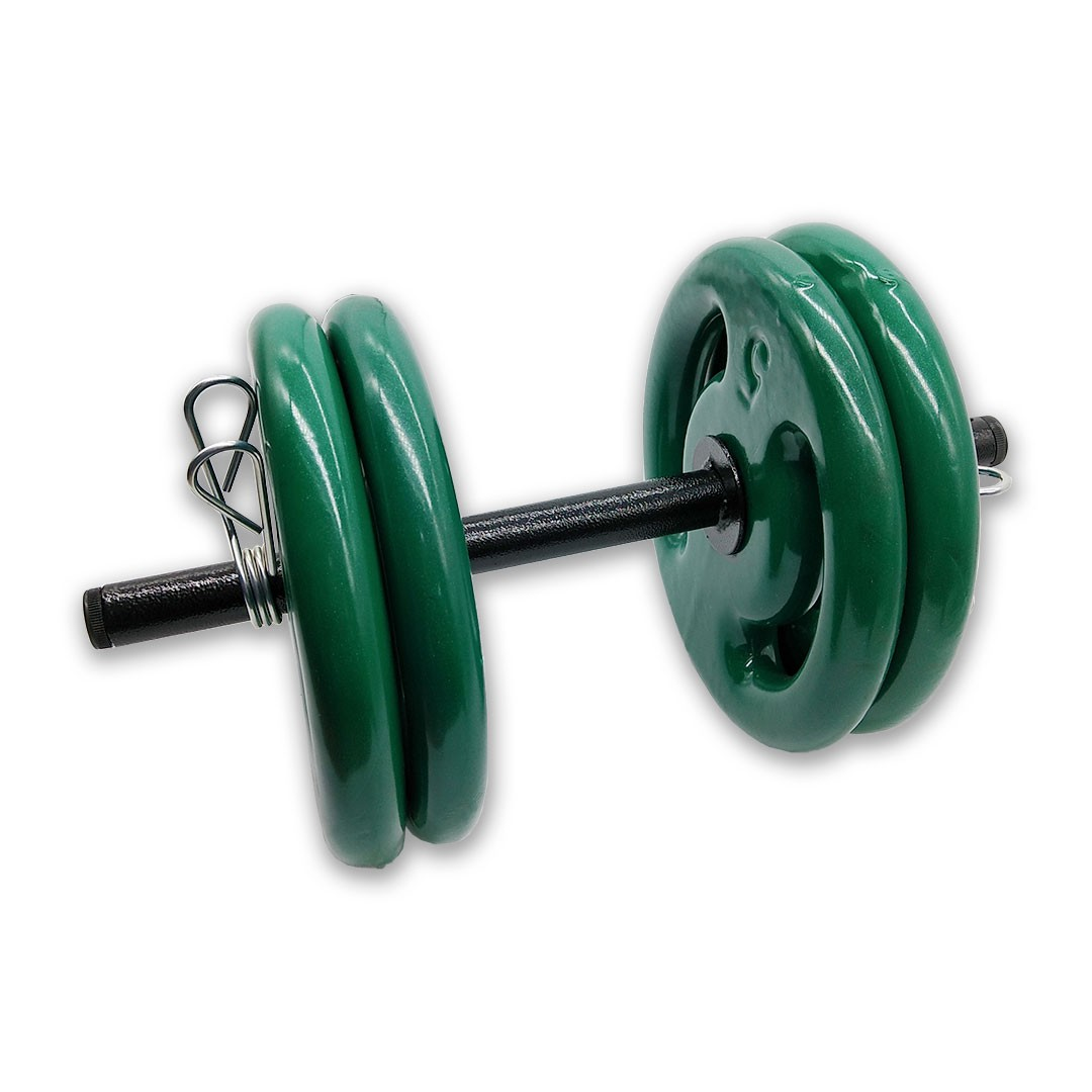 KIT 2 BARRAS OCAS 40CM C/ PRESILHA ESPIRAL + 8 ANILHAS REVESTIDAS 5KG  - Iniciativa Fitness
