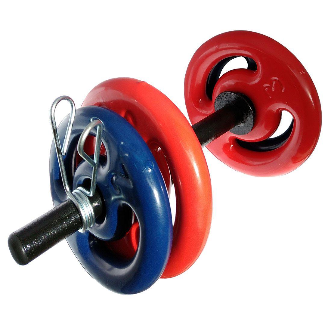 KIT 2 BARRAS OCAS 40CM C/ PRESILHAS + 2 PARES DE ANILHA REVESTIDA 2KG + 2 PARES DE ANILHA REVESTIDA 3KG  - Iniciativa Fitness