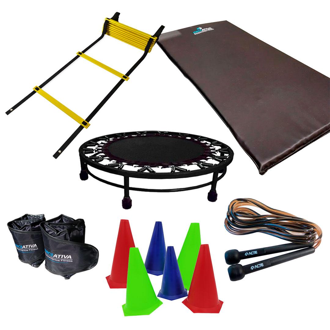 KIT COLCHONETE + CANELEIRA DE 3KG + JUMP + CORDA DE PULAR + ESCADA DE AGILIDADE + 6 CONES DE AGILIDADE  - Iniciativa Fitness