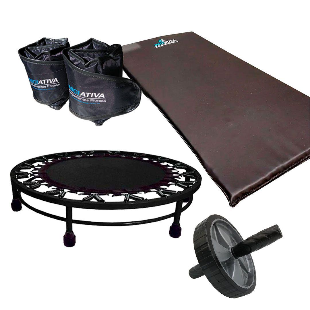 KIT COLCHONETE + TORNOZELEIRA 3KG + JUMP + CORDA DE PULAR + RODA ABDOMINAL  - Iniciativa Fitness
