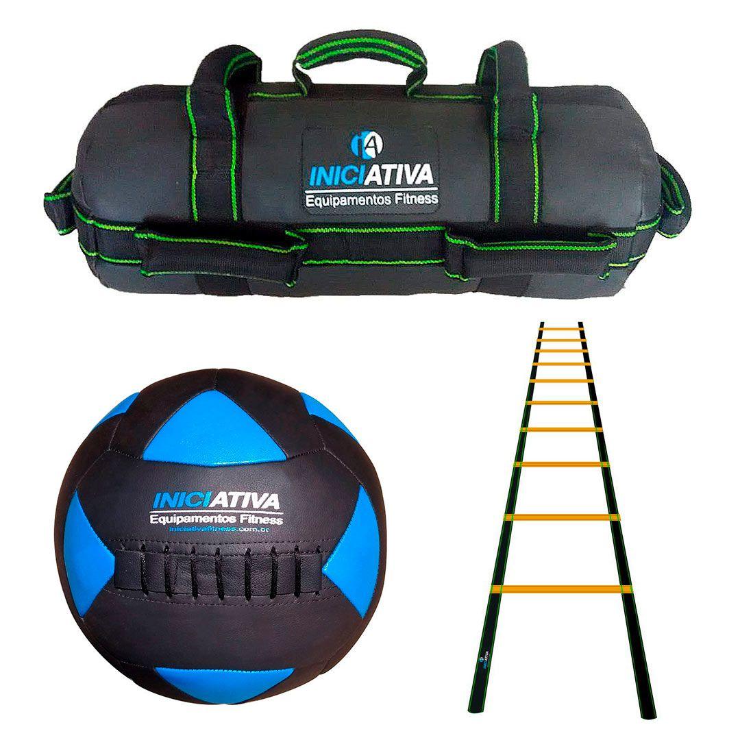 KIT DE 1 WALL BALL + POWER BAG + ESCADA DE AGILIDADE - ESCOLHA SEU PESO  - Iniciativa Fitness