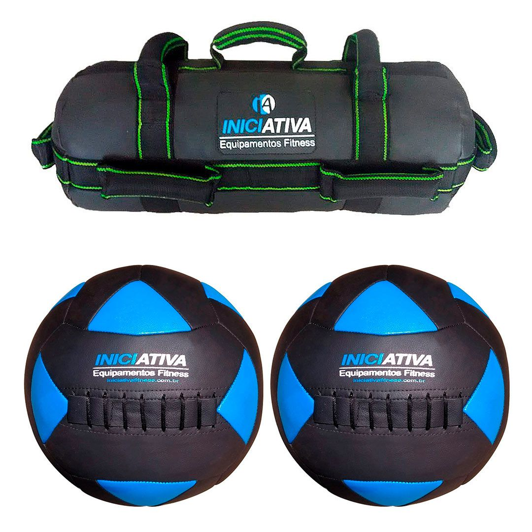 KIT DE 2 WALL BALL + POWER BAG - ESCOLHA SEU PESO  - Iniciativa Fitness