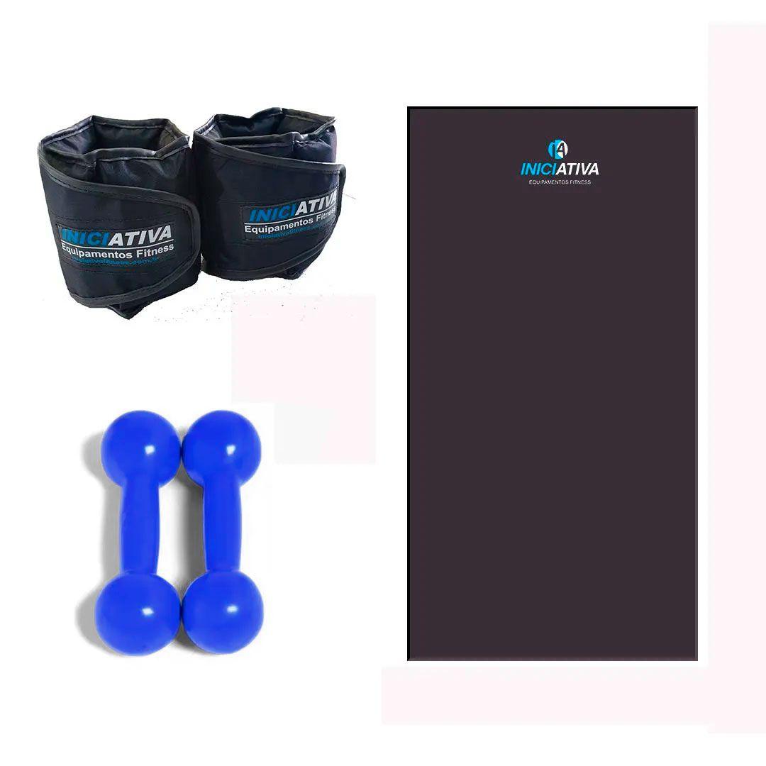 KIT DE GINÁSTICA EM CASA - COLCHONETE + PAR DE TORNOZELEIRA 2KG + PAR DE HALTER 2KG  - Iniciativa Fitness