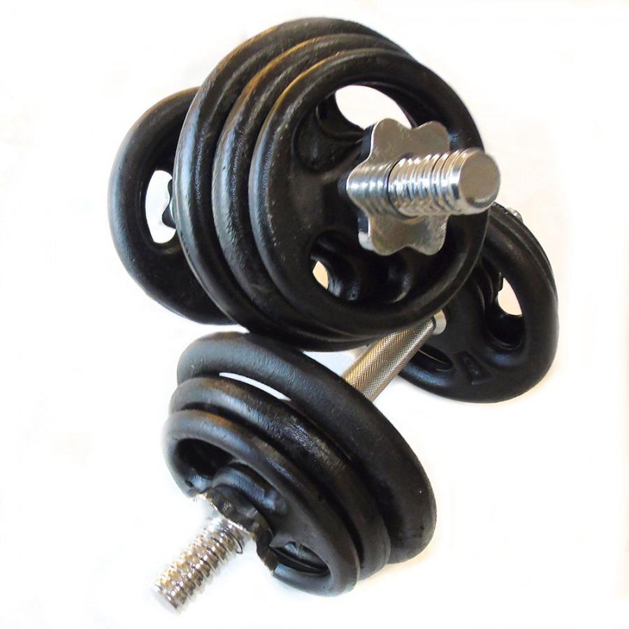 Kit Musculação 2 barras + 12 anilhas ( 24 kg )  - Iniciativa Fitness