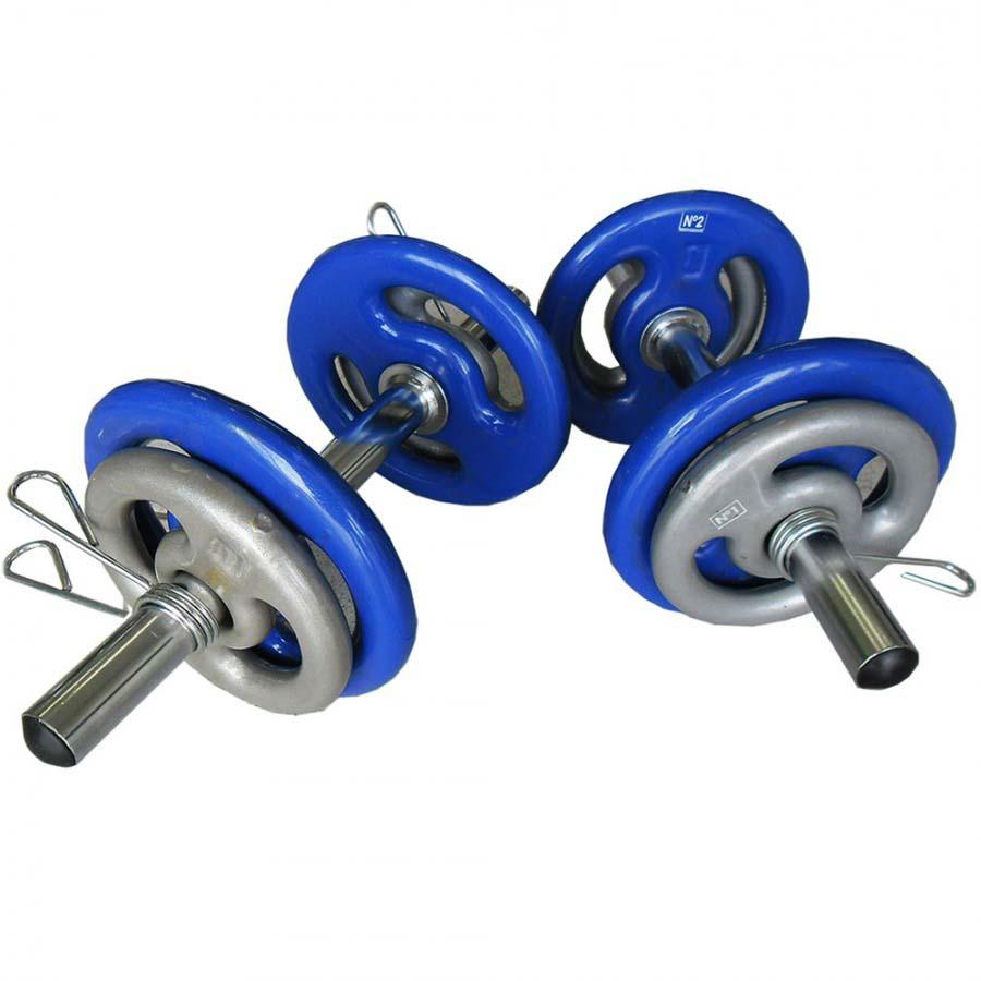 Kit Musculação 2 Barras + 8 Anilhas Revestidas (12kg)  - Iniciativa Fitness