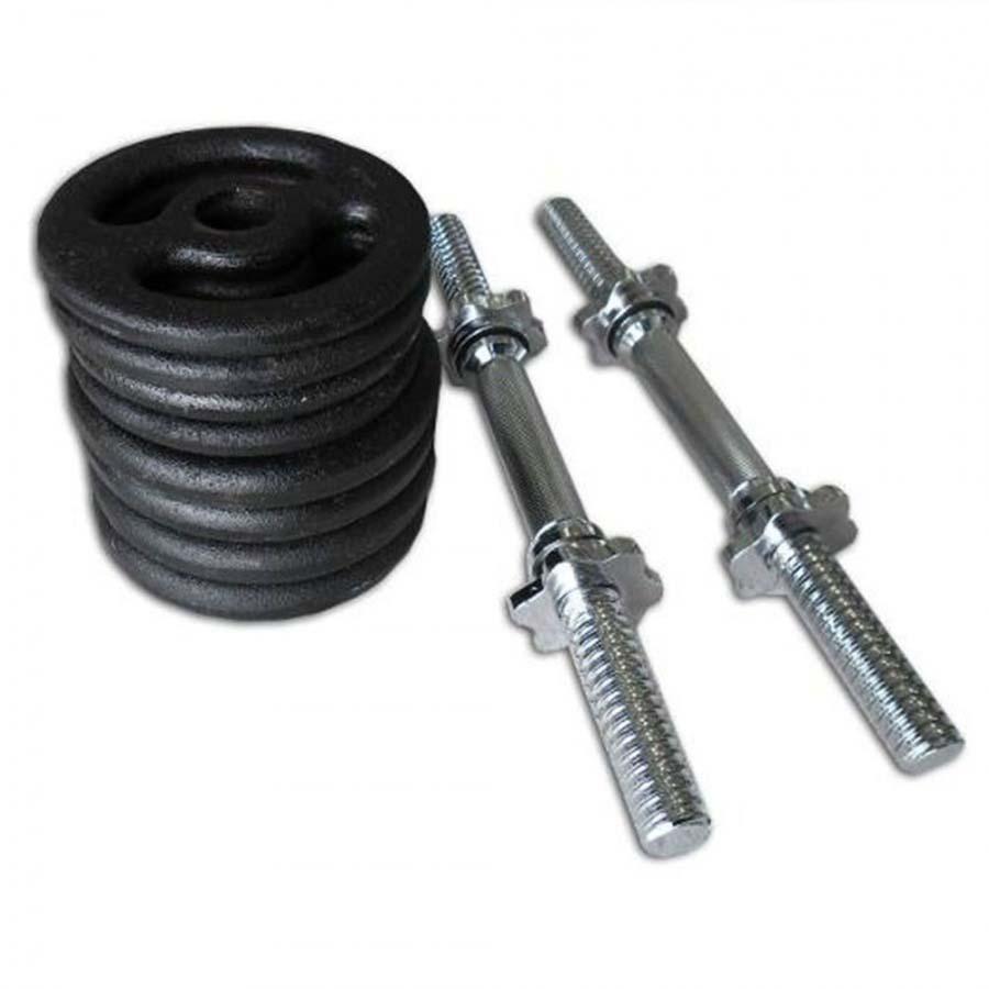 Kit Musculação Completo Anilhas Pintadas(Pesos e Barras)  - Iniciativa Fitness