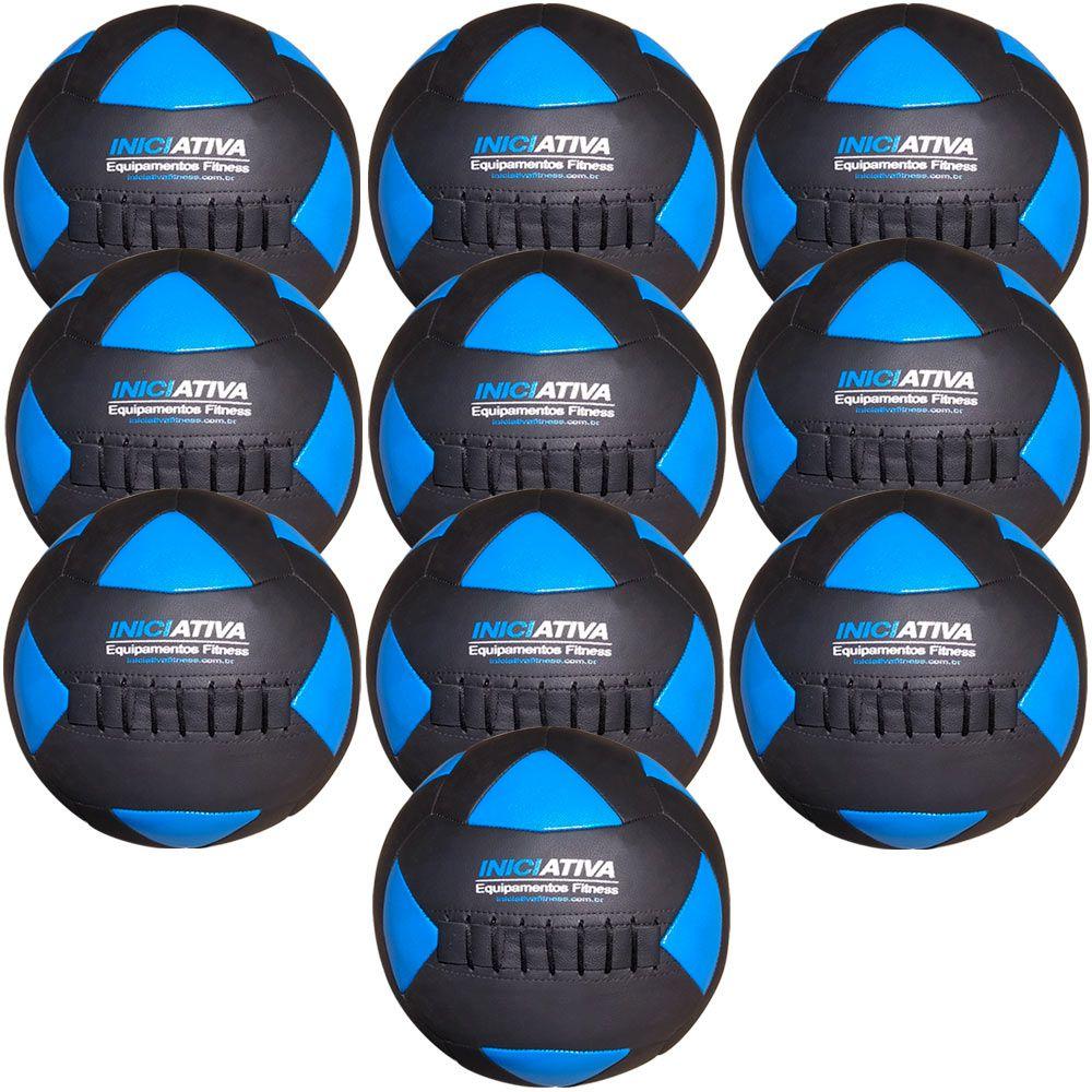 Wall Ball Kit Com 10 Bolas Medicine Ball Couro  - Iniciativa Fitness