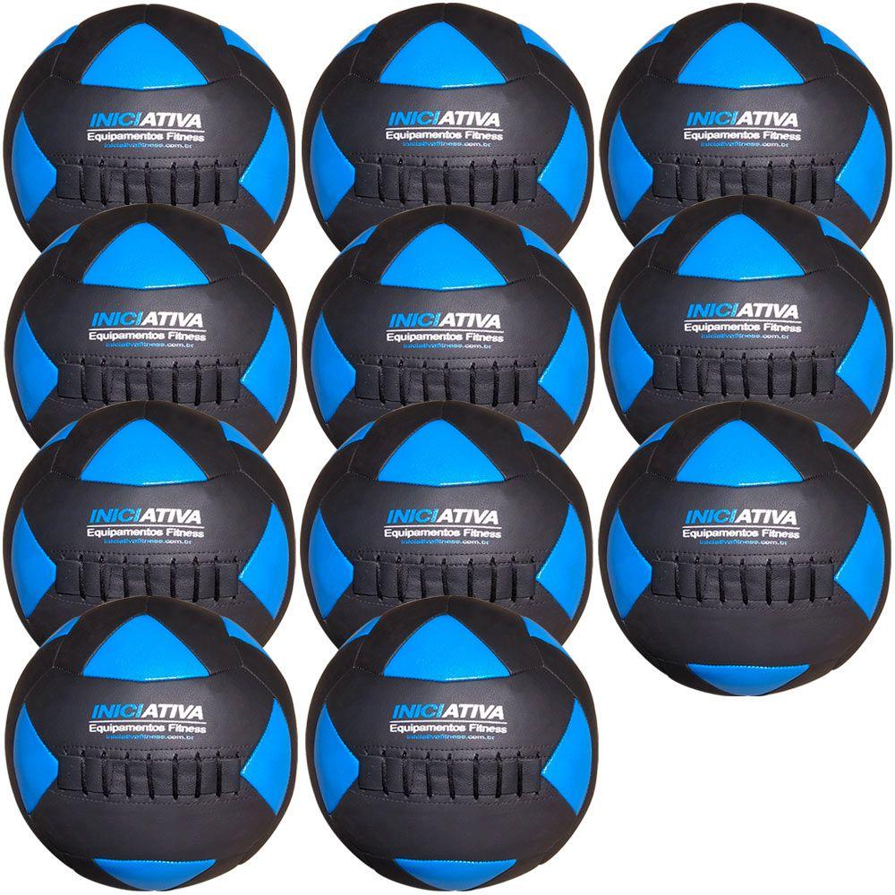 Wall Ball Kit Com 11 Bolas Medicine Ball Couro  - Iniciativa Fitness