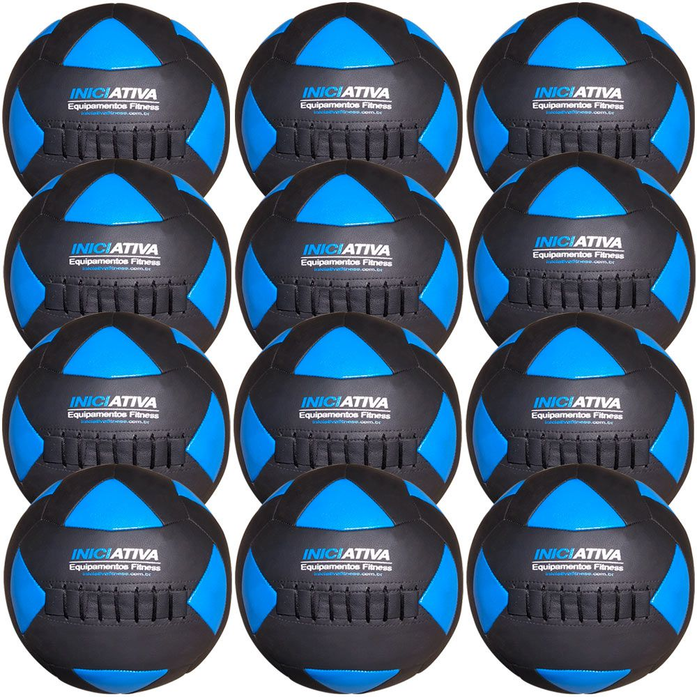 Wall Ball Kit Com 12 Bolas Medicine Ball Couro  - Iniciativa Fitness