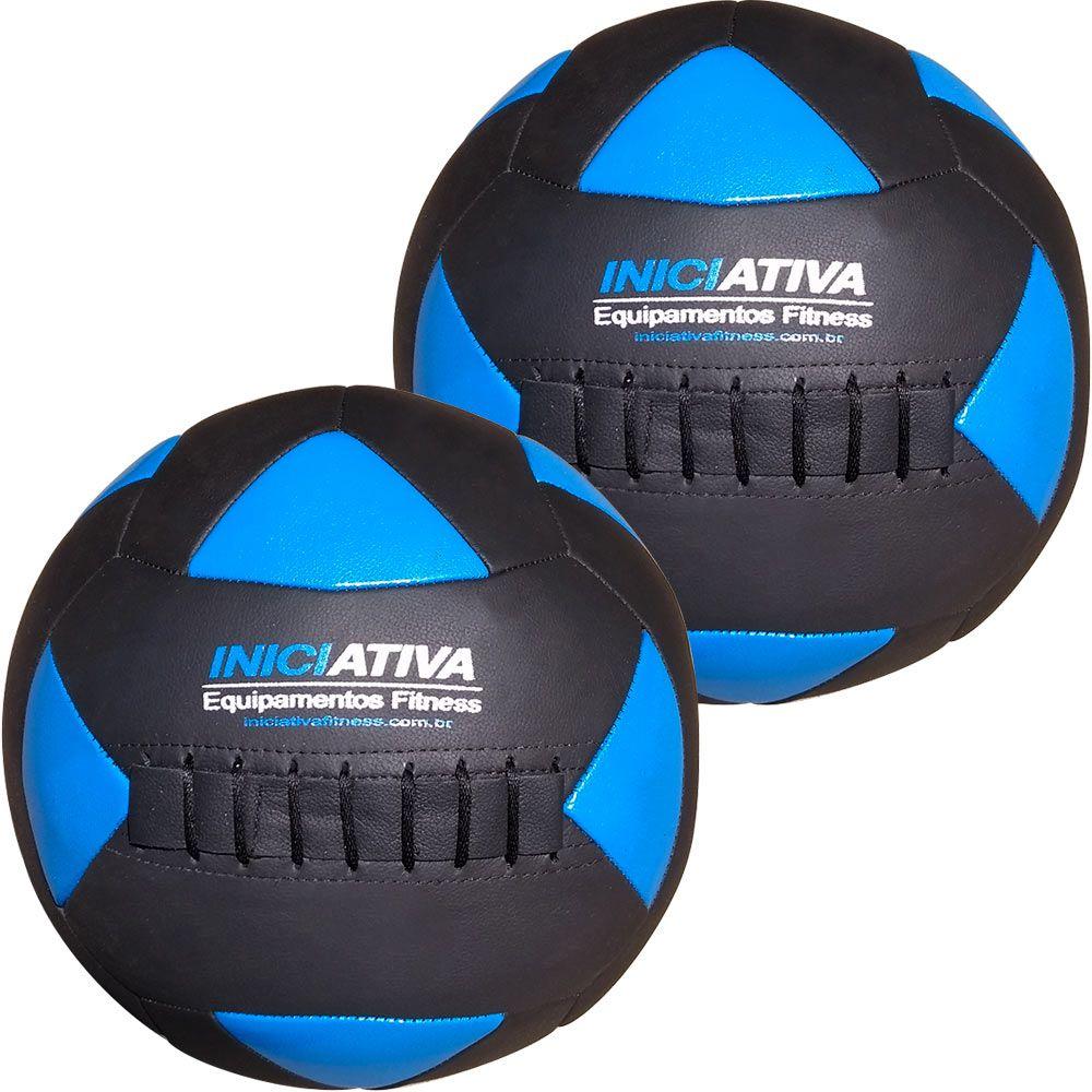 Wall Ball Kit Com 4 E 6 Kg Medicine Ball Couro  - Iniciativa Fitness
