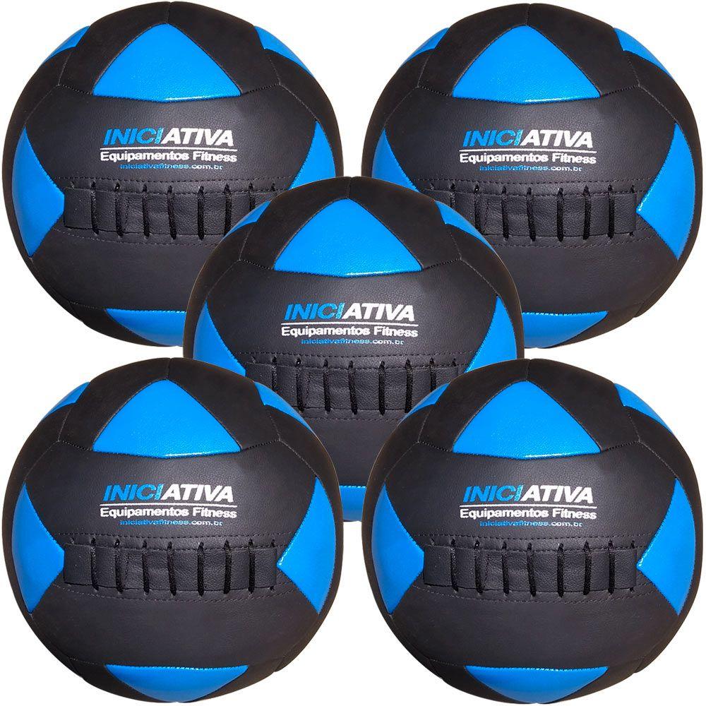 Wall Ball Kit Com 4 kg, 6 kg, 8 kg, 10 kg e 12 Kg Medicine Ball Couro  - Iniciativa Fitness