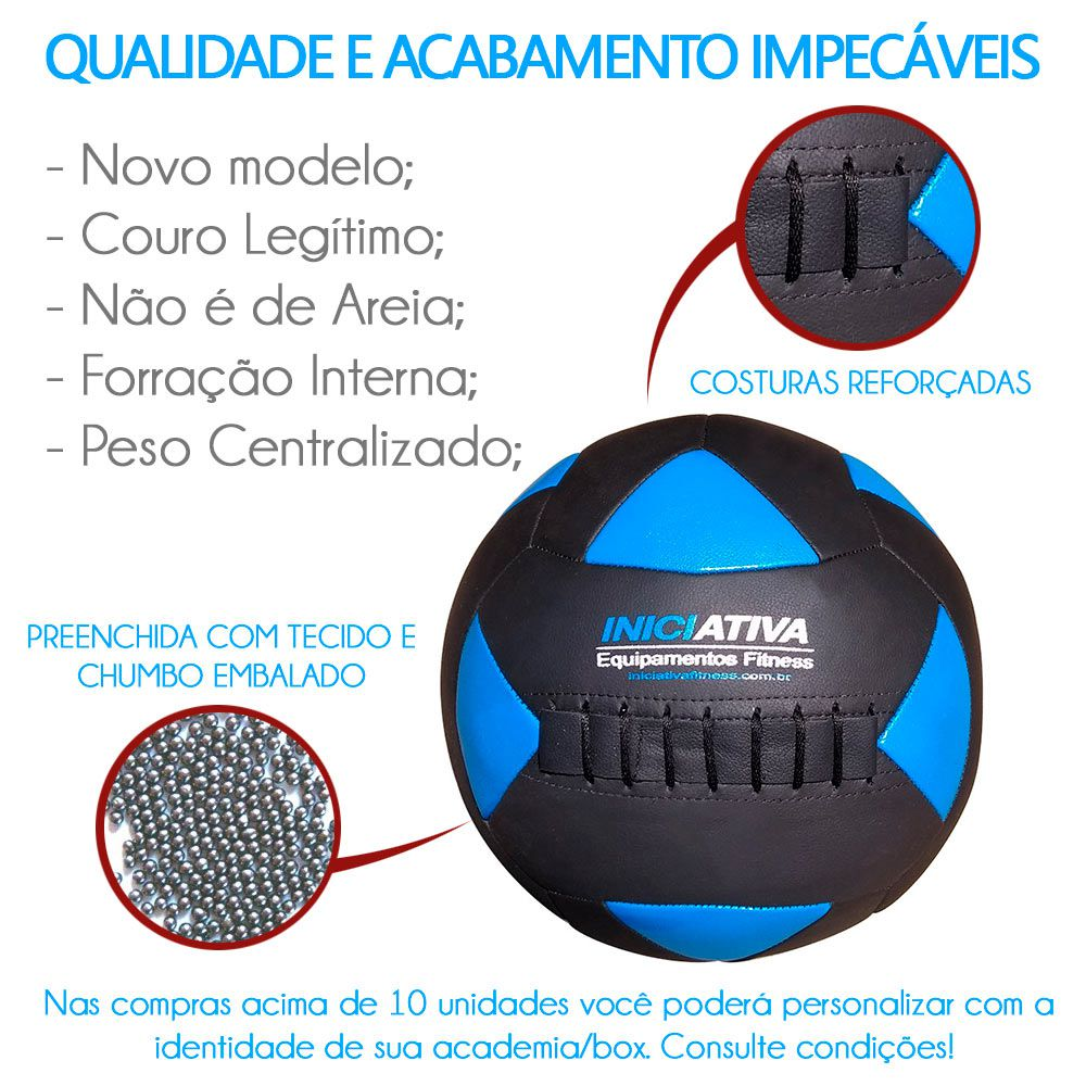 Wall Ball Kit Com 4 kg, 6 kg, 8 kg, 10 kg e 12 Kg Medicine Ball Couro - Iniciativa Fitness