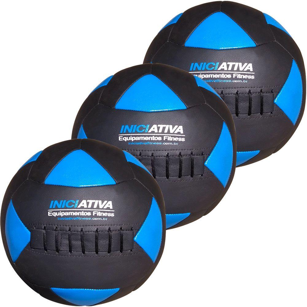 Wall Ball Kit Com 4 Kg, 6 Kg E 8 Kg Medicine Ball Couro  - Iniciativa Fitness