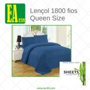 Lençol 1800 fios - Premium Bamboo Collection - Queen Size - Azul Marinho