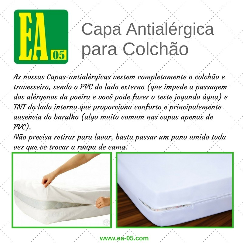 Capa antialérgica para colchão - impermeável - Queen - PVC/TNT - 158x198x20 cm - com zíper  - Espaço do Alérgico