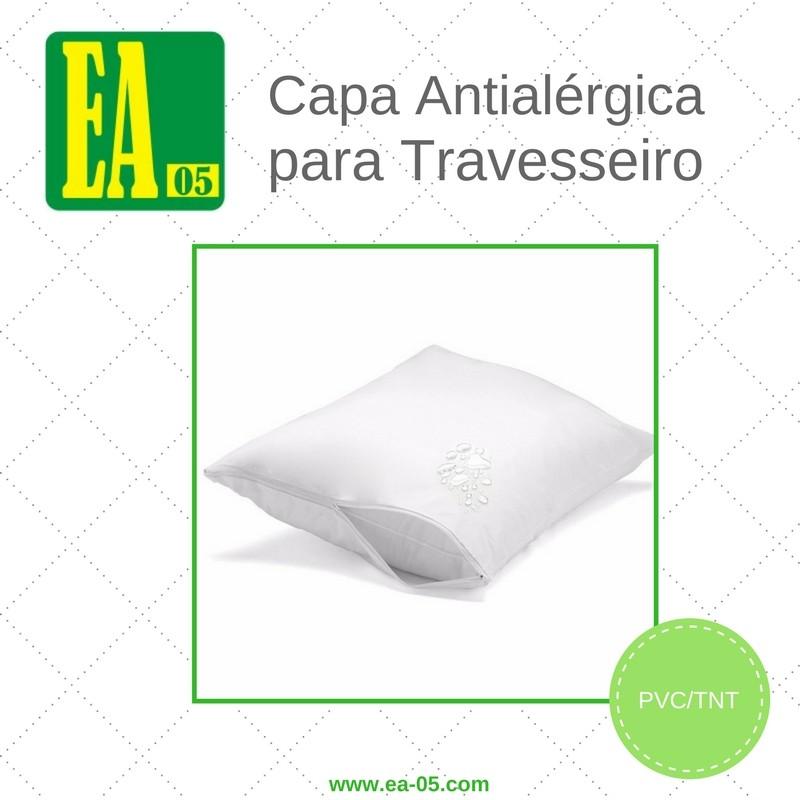 Capa antialérgica travesseiro - impermeável - adulto - PVC/TNT - 50x70 cm - com zíper  - Espaço do Alérgico