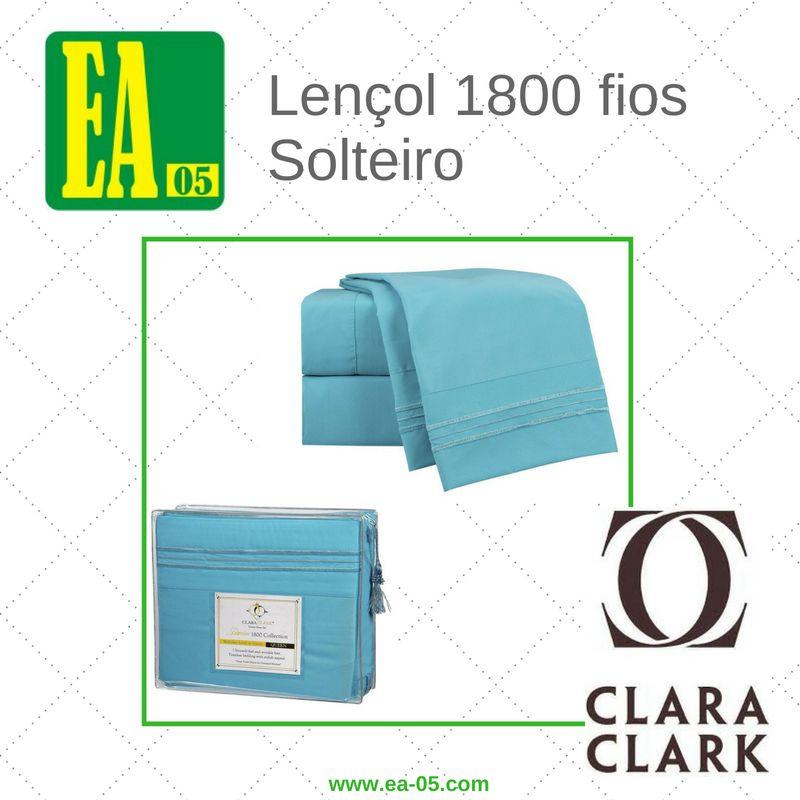 Lençol 1800 fios - Conjunto Premium Clara Clark - Solteiro/TWIN - Beach Blue  - Espaço do Alérgico
