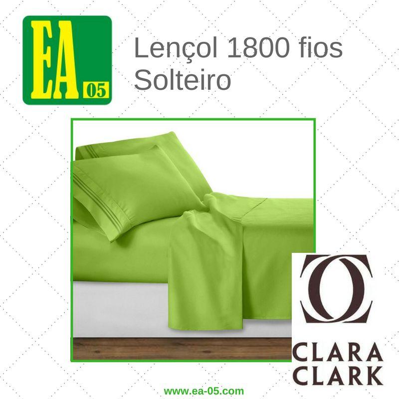 Lençol 1800 fios - Conjunto Premium Clara Clark - Solteiro/TWIN - Garden Green  - Espaço do Alérgico