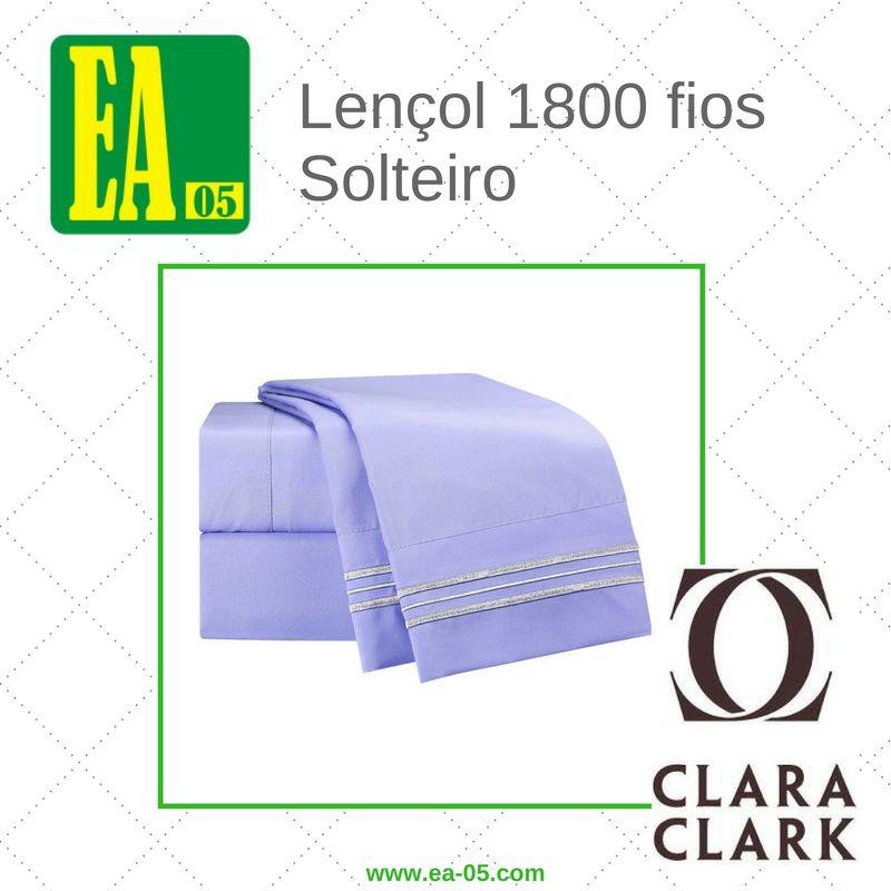 Lençol 1800 fios - Conjunto Premium Clara Clark - Solteiro/TWIN - Lavanda  - Espaço do Alérgico