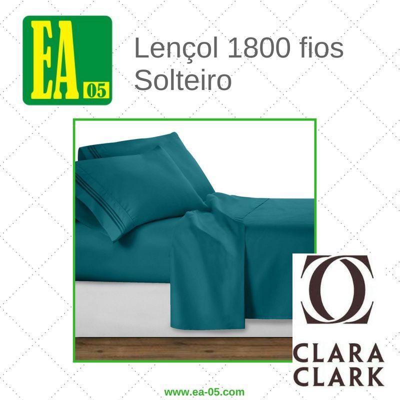 Lençol 1800 fios - Conjunto Premium Clara Clark - Solteiro/TWIN - Teal  - Espaço do Alérgico