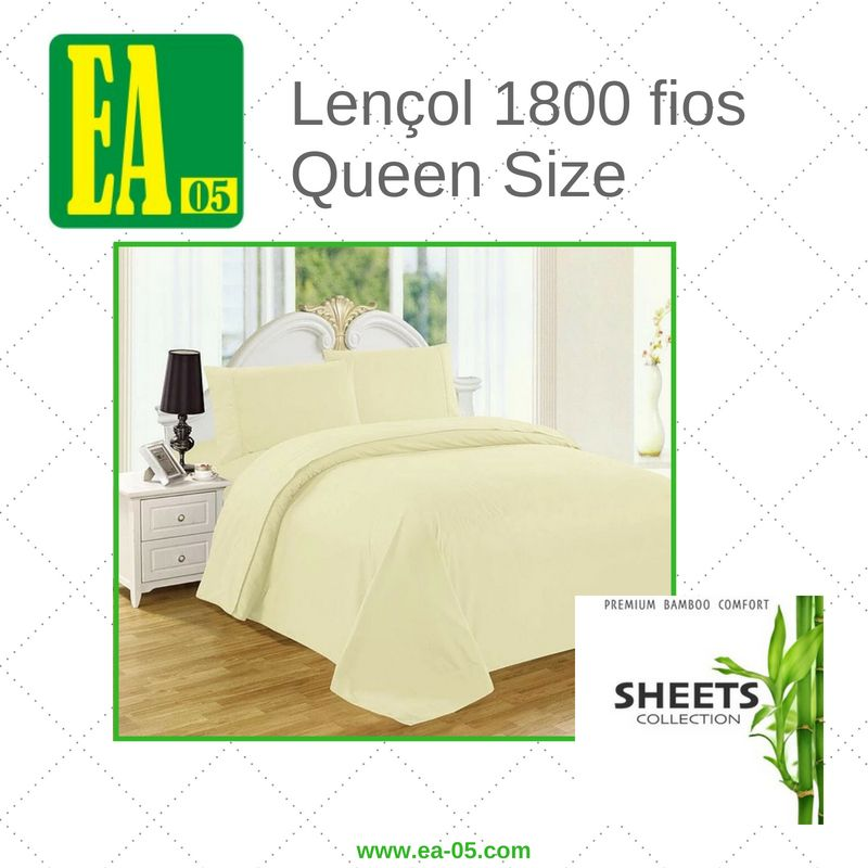Lençol 1800 fios - Premium Bamboo Collection - Queen Size - Amarelo Claro  - Espaço do Alérgico