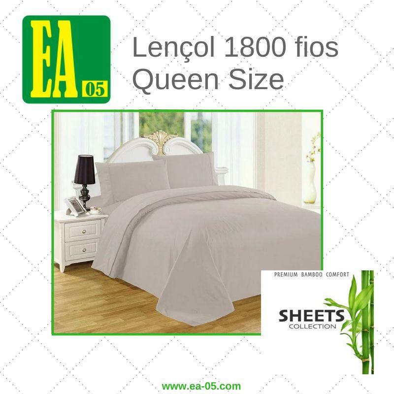 Lençol 1800 fios - Premium Bamboo Collection - Queen Size - Cinza  - Espaço do Alérgico